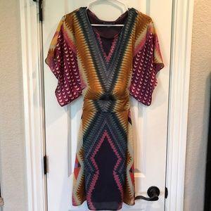 Roz & Ali Geometric Print Dolman Sleeve Dress